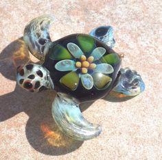 Baby sea turtle necklace glass beads pendant by RyanJesseeglass, $20.00