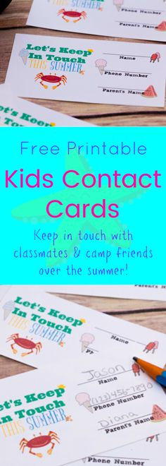 Help your child keep in touch with school or camp friends this summer with these free printable kids contact cards! Just print, fill and hand out! | www.TheShadyLane.com