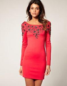 RARE embellished long sleeve dress $99 raspberry party dress