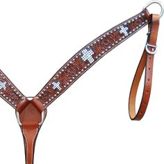 Bar H Equine Crystal Inlay Cross Western Horse Breast Collar
