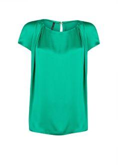 MANGO - CLOTHING - Tops - Greens - Pleated satin finish blouse