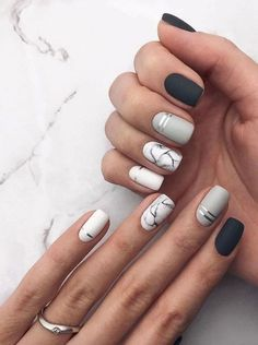 31 Stylish Marble Square Nail Designs Marble nails are a kind of nail art design which imitates the appearance of marble. Square Nail Designs, Marble Nail Designs, Short Nail Designs, Nail Art Designs, Nails Design, Nail Designs Spring, Matte Nail Art, Cute Acrylic Nails, Cute Nails