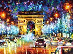 PARIS-original oil painting by Leonid Afremov by Leonidafremov.deviantart.com on @deviantART