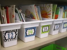 Get organized! Store kids' books in ice bins from tne discount store.