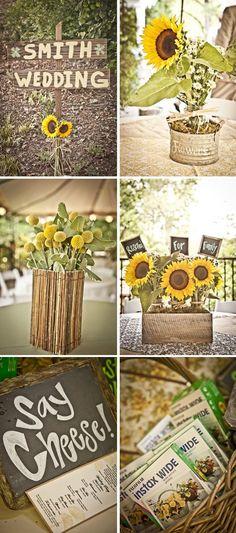 centros de mesa para boda en jardin con girasoles