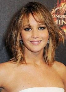 Jennifer Lawrence with Wispy Bangs- Read all about the different types of bangs!