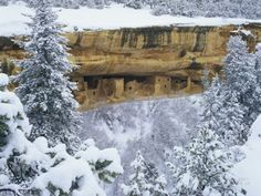 Snow Blankets Spruce Tree House Anasazi Cliff Dwelling at Mesa ...