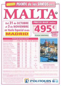 Puente de los Santos MALTA, salida 31/10 desde Madrid (4d/3n) p.f. 560€ - http://zocotours.com/puente-de-los-santos-malta-salida-3110-desde-madrid-4d3n-p-f-560e/