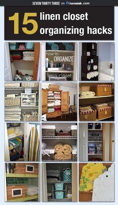 15 Linen Closet Organizing Hacks