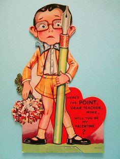 Vintage Valentine's Day Card for Teacher by SongbirdSalvation
