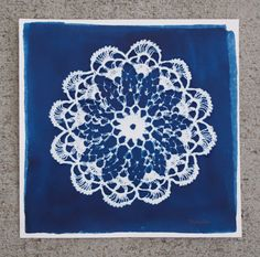 Doily Cyanotype Print by HiyaHiyaHiya Cyanotype, Doilies, Textiles, Tapestry, The Originals, Unique Jewelry, Handmade Gifts, Etsy, Vintage