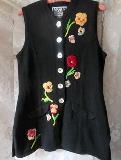 Items similar to Black Sweater Vest Buttons Long Tunic Multi Colored Pansies Embroidered Ladies Size M Vintage at Quilted Nest on Etsy Long Black Sweater, Black Tunic, Black Sweaters, Cute Modest Outfits, Mother Of Pearl Buttons, Pansies, Nest, Lady, Vintage