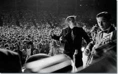 """Elvis at his """"Welcome Home"""" concert in Tupelo, Mississippi; September 26, 1956."""