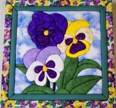 138 Trio of Pansies Quilt Magic No Sew Wall Hanging Kit