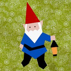Gnome paper pieced quilt block pattern PDF by BubbleStitch on Etsy, $2.90