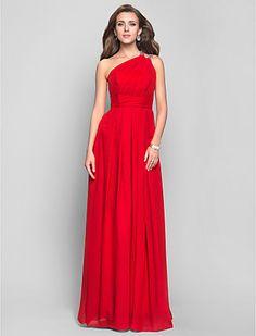 Sheath/Column One Shoulder Floor-length Chiffon Evening Dress (551342) - USD $ 109.79