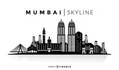 Mumbai skyline silhouette design. You can see the most important buildings, it's isolated and it also says Mumbai Skyline over the silhouette.