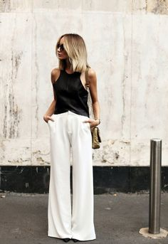white wide leg trouser pants