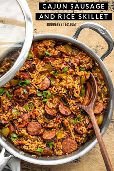 This easy Cajun Sausage and Rice Skillet is the perfect easy and filling weeknight dinner, packed with plenty of smoky-spicy flavor! Budgetbytes.com Sausage Recipes, Pork Recipes, Cooking Recipes, Healthy Recipes, Recipies, Healthy Soup, Cajun Sausage And Rice Recipe, Sausage Meals, Sausage Rice