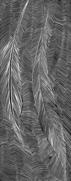 Feather and geometric patterns. Textile design and surface pattern design inspiration. White on Black print Pattern Dots, Doodle Pattern, Pattern Design, Motifs Textiles, Textile Patterns, Print Patterns, Op Art, Pattern Vegetal, Arte Linear