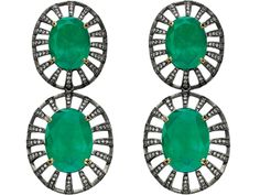 Czar Earrings in 18K White Gold with Black Rhodium, Emeralds and Diamonds