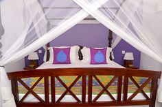 Chambre violette de la villa Sepalika | Purple room in Villa Sepalika in Sri-Lanka