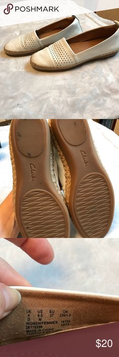 Clark's espadrilles flats Nice condition. White leather with perforated detail. No stains or flaws. Clarks Shoes Espadrilles