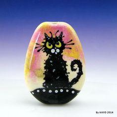 """THE GRUMPY GEEZER"" byKAYO a Handmade CRANKY CAT Lampwork Glass Focal Bead SRA #Lampwork"