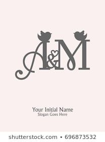 Initial name A M logo template vector M Letter Design, Alphabet Letters Design, Monogram Design, Lettering Design, Logo Design, Alphabet Pictures, Name Pictures, My Heart Quotes, Initial Fonts