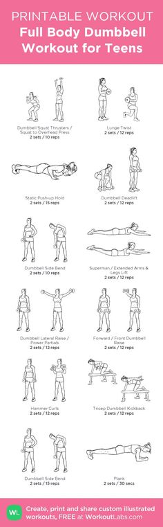 Full Body Dumbbell Workout for Teens – my custom workout created at WorkoutL • Click through to download as printable PDF! | http://workout.kira.lemoncoin.org