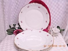 8259 by Walbrzych  China Small Roses, Embossed Edge, Gold Trim, 4 Dinner Plate