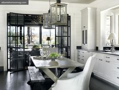 The Semi-Designed Life - love the black french doors & lanterns hint of french grey is perfect