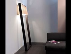 Nella Vetrina Frame Contardi FL Mrs Italian Designer Floor Lamp in Dark Brown Oak and White Cotton