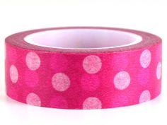 Pink Parade – GetWashi.com - Pink washi tape with pink and white polka dots.  $1.97
