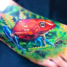 Dart Tree Frog on Foot Tattoo Idea