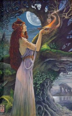 Nimue, the Enchantress of Merlin, is believed to have beguiled Merlin into revealing all his magical secrets.  She then imprisoned him in a Hawthorn tree, and his face can be seen in the lower right of the tree trunk in this image.