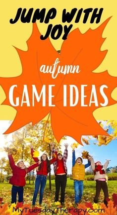 Jump with joy! Fall game ideas for kids. Games for large groups. Thanksgiving activities for kids. Outdoor Thanksgiving, Thanksgiving Activities For Kids, Autumn Activities For Kids, Harvest Activities, Outside Games For Kids, Outdoor Games For Kids, Games For Teens, Fall Party Games, Fall Games