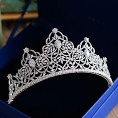 Gelin tac? High-end Top Quality Oversize Vintage AAAA Cubic Zirconia Crystal Brides Crown Tiara Sliver Hair bands Evening Hair Accessories <3 Bu bagli bir çam AliExpress oldugunu.  AliExpress web sitesinde detaylari gormek icin telefon goruntusunu tiklayin