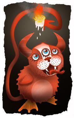 'Monster Eating a Marshmellow' By Zoe Shelton Illustration