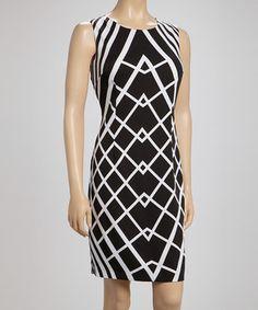 Look what I found on #zulily! Voir Voir Black & White Geometric Sleeveless Dress by Voir Voir #zulilyfinds