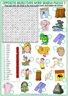 Opposite Adjectives ESL Word Search Puzzle Worksheets For Kids Adjective Words, Adjective Worksheet, Vocabulary Worksheets, Vocabulary Cards, Worksheets For Kids, Opposite Words For Kids, Adjectives For Kids, Word Seach, Opposites Worksheet