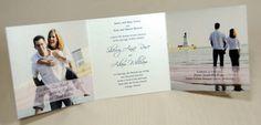 három részre hajtható esküvői meghívó Our Wedding, Polaroid Film