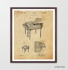 Piano Poster  Piano Art Print  Piano Patent by WunderkammerStudio