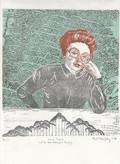New to minouette on Etsy: Marie Tharp Linocut Portrait Geologist and Oceanographic Cartographer & Mid Atlantic Ridge Lino Block Print Women in Science (39.00 USD)