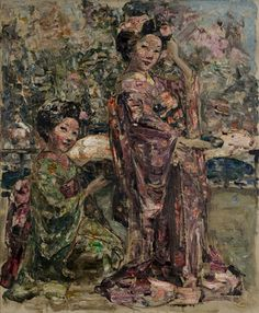 Two Geisha girls in a Japanese Garden, c.1921-25 by Edward Atkinson Hornel