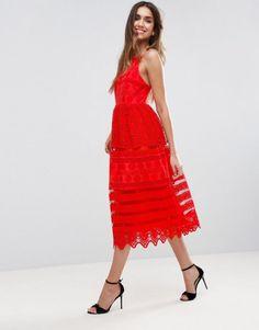 ASOS PREMIUM Broderie Midi Prom Dress with Low Back.   dresslover.co.uk