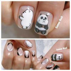 We bare bears nail art Panda Nail Art, Kawaii Nail Art, Animal Nail Art, Cute Nail Art, Cute Nails, Pretty Nails, Beautiful Nail Designs, Cute Nail Designs, Beautiful Nail Art