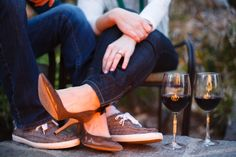 San Diego engagement photos - wine and fire