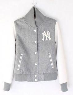 Grey White Womens NY Yankee Baseball jacket Moda De Chica Joven db4a011ac31
