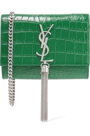 Saint LaurentMonogramme Kate small croc-effect leather shoulder bag